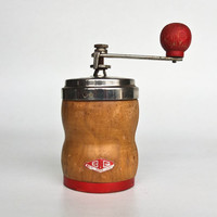 Vintage Coffee Grinder / Wooden  Coffee Mill / Mid Century Kitchen / B G / 50s Italy / Red