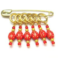 Knitting Stitch Markers Row Counters For Knitting Knit Crochet Red and Gold Lady Bug Handmade