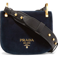 Prada - Pionnière leather-trimmed velvet shoulder bag