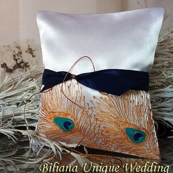 Hand painted Satin white ring bearer pillow Gold peacock feathers personalized wedding favor