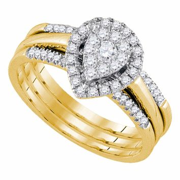 14kt Yellow Gold Womens Diamond Teardrop Cluster Bridal Wedding Engagement Ring Band Set 1/2 Cttw