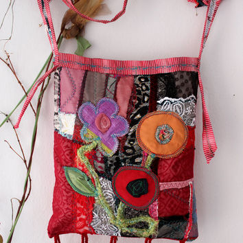 Red Hippie Bag, Handmade rag bag, Red Boho Bag, Ethnic bag, Recycle bag, Red denim bag, Red shoulder bag, Patchwork  punk bag, unique bag