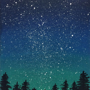 Starry Night Sky Pine Trees, Acrylic Canvas Painting, Blue Green 5x7 Original Art