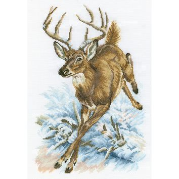 "RTO Counted Cross Stitch Kit 8.75""X13""-Forest Deer (14 Count)"