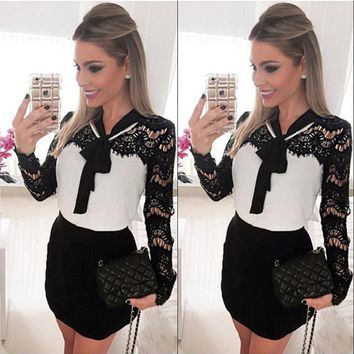 Fashion Formal Elegant Women Ladies Evening Party Dress Long Sleeve Lace Floral Bow Straight High Waist Mini Dress