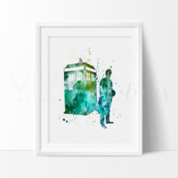 Tardis, Doctor Who Watercolor Art Print