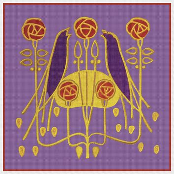 Art Nouveau Birds and Roses By Talwin Morris  Arts and Crafts Style Counted Cross Stitch Pattern