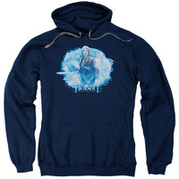 HOBBIT/TANGLED WEB-ADULT PULL-OVER HOODIE-NAVY