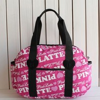 """ Pink "" Printed High Quality Durable Victoria's Secret Like Sport Exercise Carry on Yoga Gym Travel Luggage Bag  _ 13499"