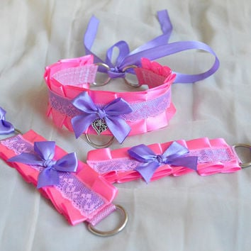 Kitten play collar and cuffs - Doll's dreams - ddlg cgl princess cute neko sweet kawaii lolita costume - bright pink choker set