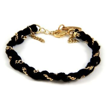 Black Vintage Ribbon and Thin Gold Chain Braided Bracelet