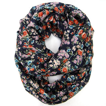 Scarf, Floral Circle Scarf, Infinity Scarf, Eternity Scarf, Endless Loop Scarf, Floral, Navy Blue, Lavender, Peach, Blue, White