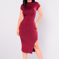 Dominique Midi Dress - Ruby