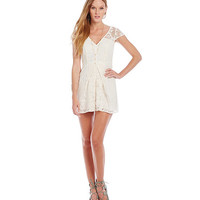 BCBGeneration Floral-Lace Pleated Short Romper | Dillards
