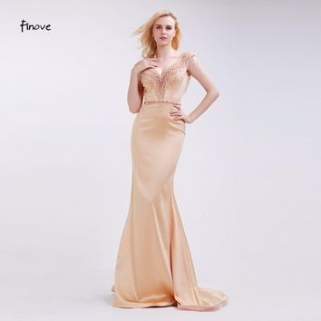 Finove Big V-Neck Mermaid Prom Dresses 2017 New Backless Sleeveless Beading Tassel Champagne Satin Long Party Gowns for Woman