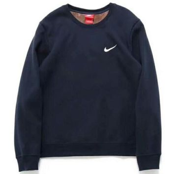 NIKE Women/Men Fashion Long Sleeve Round Neck Pullover Sweater Sweatshirt Navy blue G-A-BM-YSHY