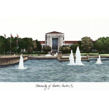 University of Houston Campus Images Lithograph Print