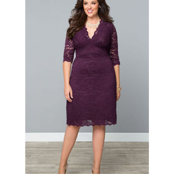 Plus Size Plum Scalloped Lace Boudoir Dress