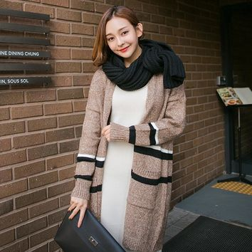 Autumn Winter Loose Pocket Stripe Knitted Sweater Coat Fashion Women's Clothing Medium Style Thick Cardigan Jersey
