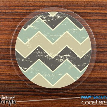 The Tan & Green Vintage Chevron Skinned Foam-Backed Coaster Set