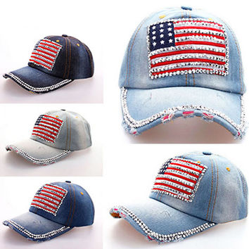 2016 New Fashion Women Jeans Denim Cap American Flag Rhinestone Baseball  Bling Hat Adjustable New 4672a06f77cb