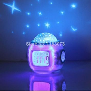 Brand Music Starry Sky Projection Children Room Sky Star Night Light Projector Lamp Bedroom Temperature Music Snooze Alarm Clock