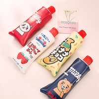 1 pcs Kawaii Simulation toothpaste PU Leather Milk bottle Pencil Case Stationery pencil case sharpener school supplies