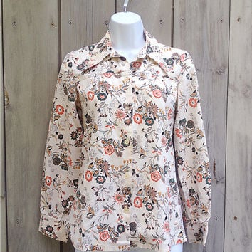 Vintage shirt | Fall floral print button down blouse
