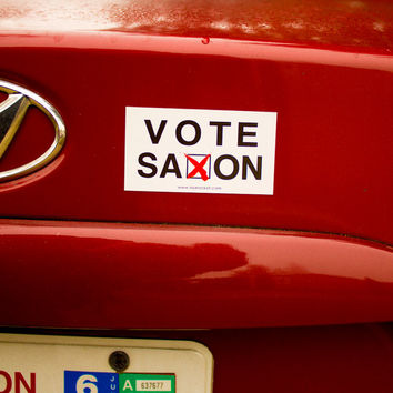 Doctor Who Inspired Car Magnet Bumper Sticker - Vote Saxon