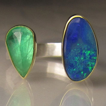 Boulder Opal Ring, Emerald Ring, Boulder Opal and Emerald Ring, 18k Yellow Gold and Sterling Silver, Open Stone Ring - sz 6-6.25