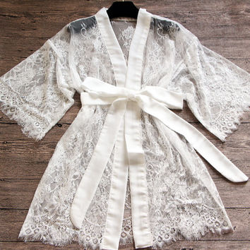 Bridal Lace Sheer Kimono Robe-Honeymoon robe-Lace Robe-Bride getting ready robe