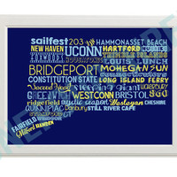 Connecticut Word Collage Print