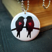 Lovebirds necklace Birds and hearts pendant 1 by theartfulbadger
