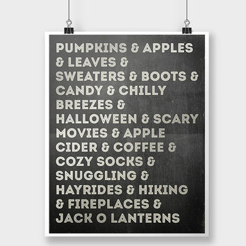 Print Fall Autumn Chalkboard Typography Quote Inspirational Chalkboard Art Black White Home Decor Wall Decor Pumpkin