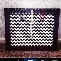 Framed Chevron framed Print Jewelry Necklace Earring Board Organizer from Bowlicious Divas Bowtique
