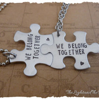 We Belong Together Couples Hand Stamped Matching Puzzle Piece Necklaces