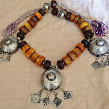 Berber Tribal Necklace with 3 Amulet boxes, Faux Amber-Resin Beads Moroccan Sahara
