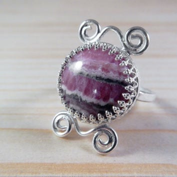 Rhodochrosite and Sterling Silver Statement Ring, Handmade Pink Gemstone Boho Style Artisan Cocktail Ring,Valentine's Day Gift for Her