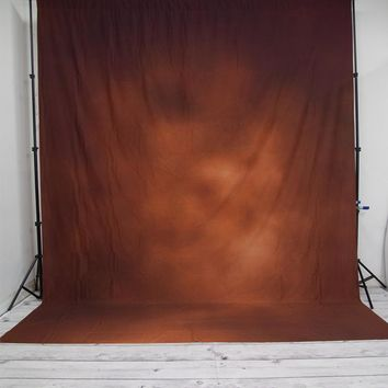 Dark Brown Orange Old Master With Banding Backdrop 10x12 - LCPCSL311 - LAST CALL