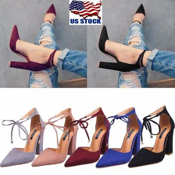 Women Ladies Lace Up Strappy Block High Heels Sandals Pointed Toe Party Shoes US
