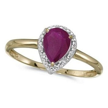 14k Yellow Gold Pear Shape Ruby and Diamond Cocktail Ring