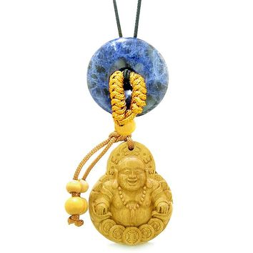 Magic Happy Buddha Car Charm or Home Decor Sodalite Lucky Coin Donut Protection Powers Amulet