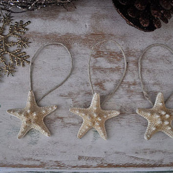 Starfish Ornaments, SALE, Beach Christmas, beachy ornaments, Starfish Christmas Ornaments, Nautical Ornaments, set of 3