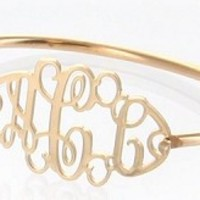 Monogrammed Filigree Gold Tone Bracelet | Preppy Custom Jewelry