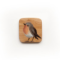 Robin Redbreast -  oil painting on olive wood brooch - original artwork