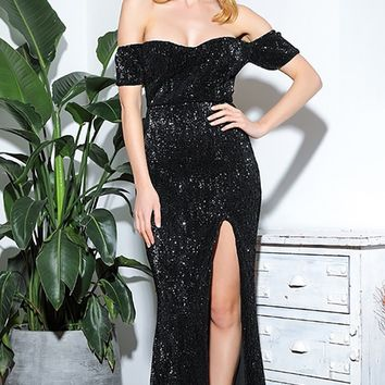 Shine Right Black Sequin Short Sleeve Off The Shoulder Draped Sweetheart Neck High Slit Maxi Dress