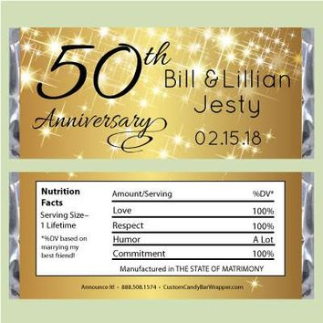 Sparkly Gold Anniversary Candy Bar Wrapper