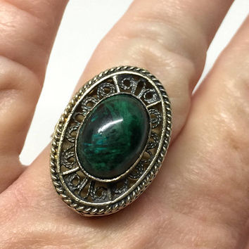 Silver Filigree Ring Eilat Stone Adjustable Israel Silver 925, Green Stone Ring, High Profile Ring, Vintage Statement Ring, Cocktail Ring