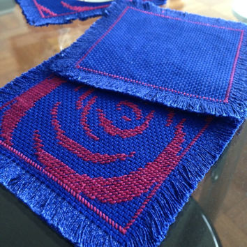 Rosy glass coasters Hand embroidered fabric coasters Blue mazarine coasters Wine red rose patterned Desk /table decor