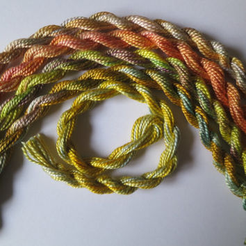 Yellow, Green, Apricot, Hand-dyed, Perle 5 Collection, Only one available, Embroidery, Mixed Media, Needlework